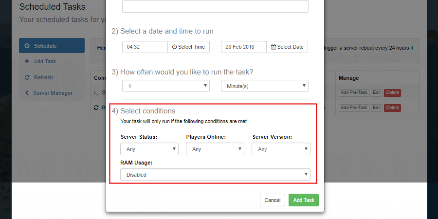 Task Conditions location on the Add Task Form.