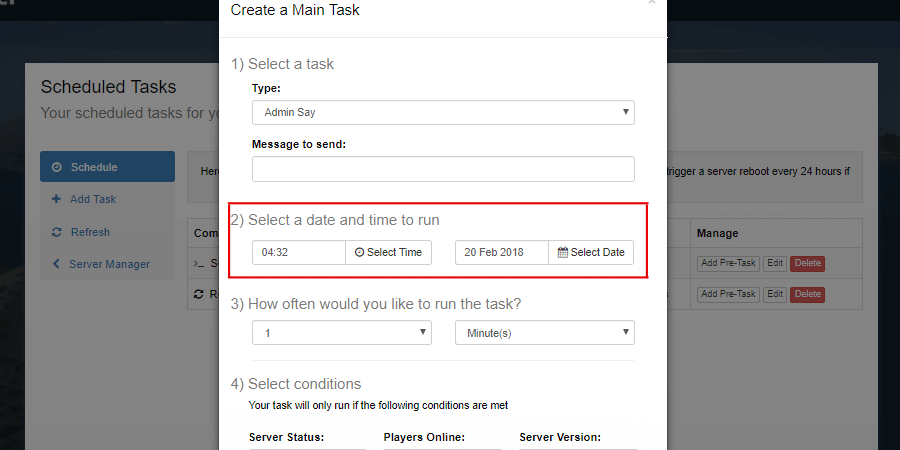 Date and Time locations on the Add Task Form.