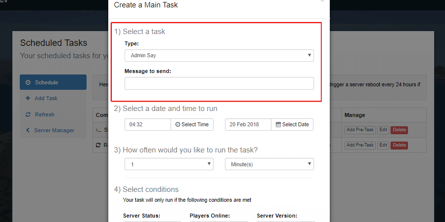 Task select location showing the Admin Say command and message option.