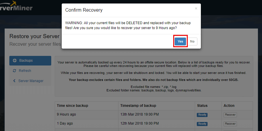 The Confirm Recovery popup message showing the affirmative option.