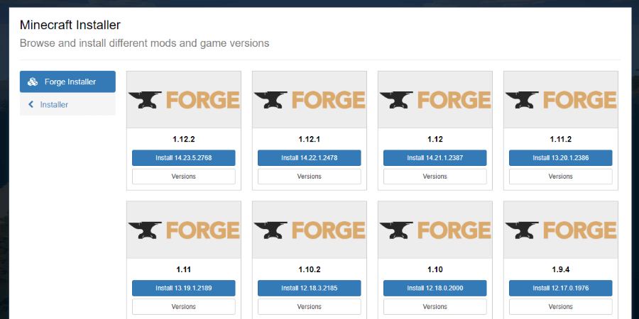 Install recommended or a different version of Forge
