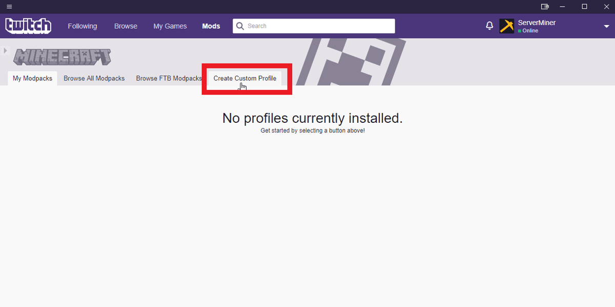Click the Create Custom Profile on the Twitch launcher