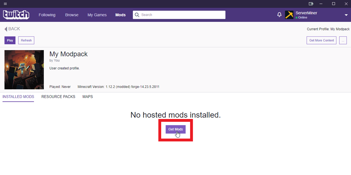 Click the Get Mods button on the Twitch launcher