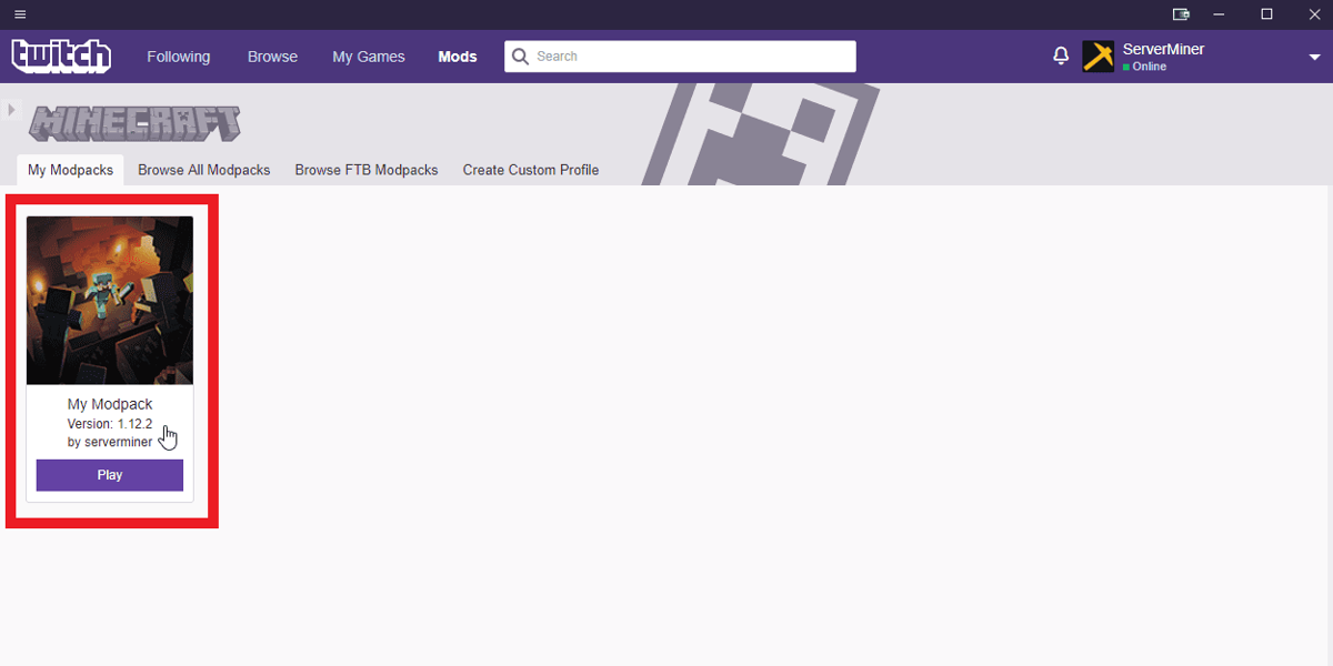 Edit the new modpack on the Twitch launcher