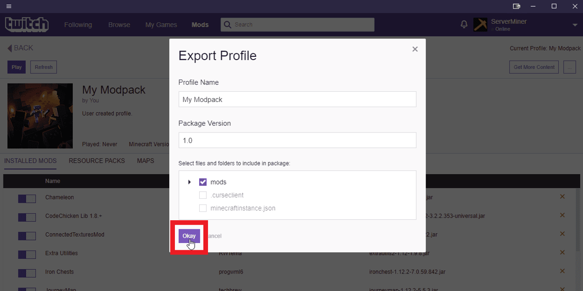 Export the modpack profile via the Twitch launcher
