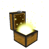 Brown Minecraft chest with light coming out.